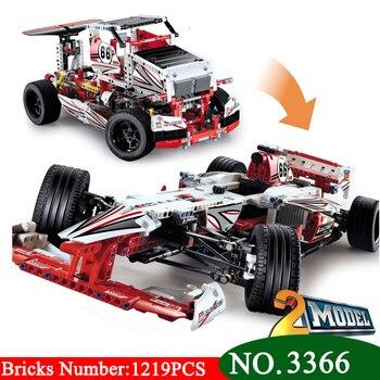 AIBOULLY 3366 1219pcs Technic Series 2-in-1 Truck F1 Racing Car Building Blocks Toy Bricks Sport Car   Racer 42000
