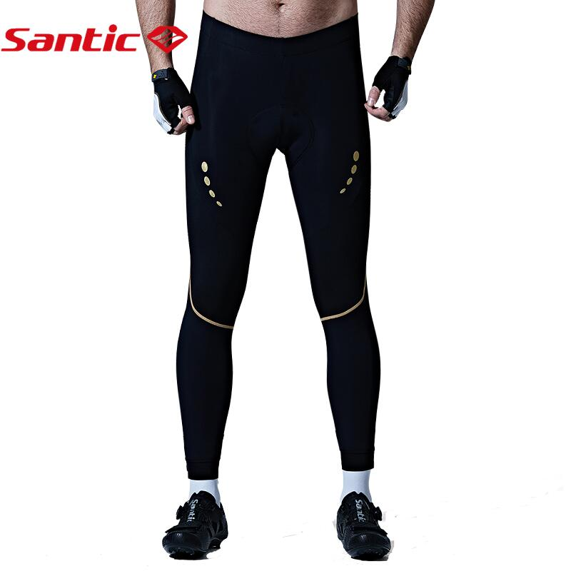 Santic Cycling Pants Men Pro Racing Team Race Fit Coolmax 4D Pad Shockproof Spring Summer Anti-pilling Cycling Tights
