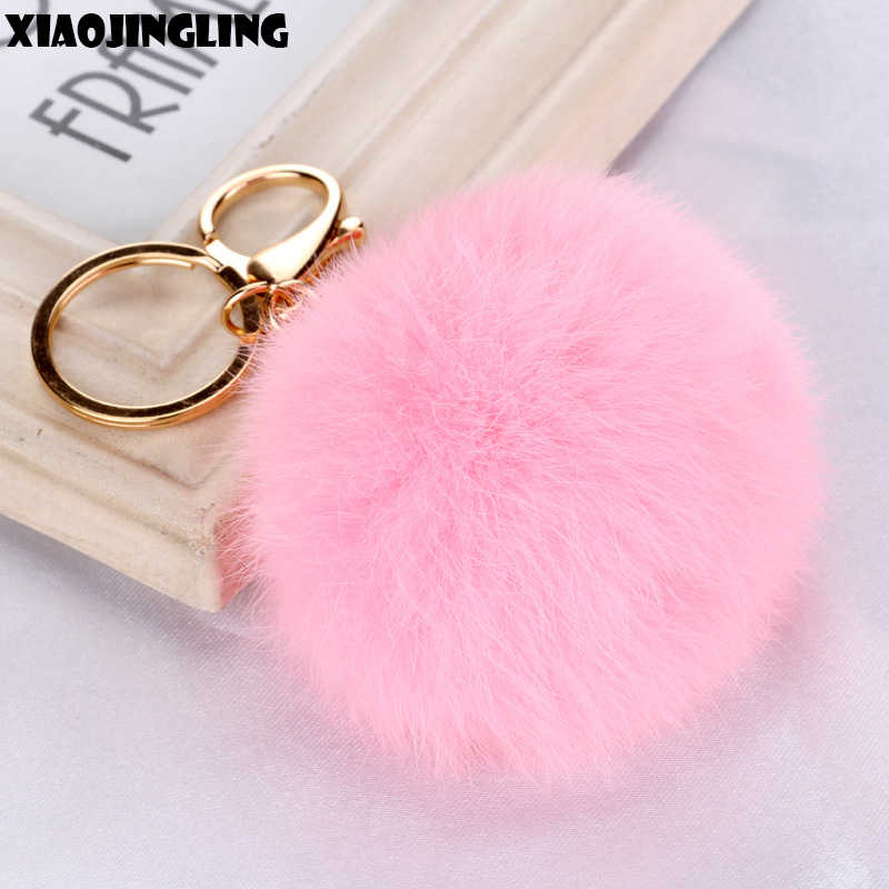 XIAOJINGLING Hot Sale Pink Fur Ball Keychain New Trendy Lovely Key Chain Charm Jewelry Women Girl Car Key/Bag Accessories Gifts
