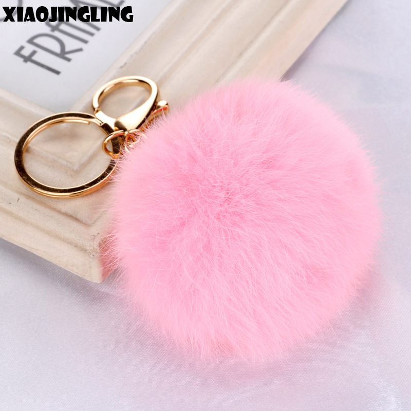 Detail Feedback Questions about XIAOJINGLING Hot Sale Pink Fur Ball Keychain  New Trendy Lovely Key Chain Charm Jewelry Women Girl Car Key Bag  Accessories ... d18644dfe4