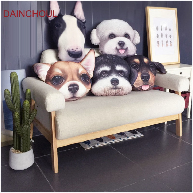38x 48 Cm New Item Big Size 3D Cute Dog Head Cushion Creative Cartoon Sofa Office Nap Pillow Parsonaltiy Car Seat Cushions