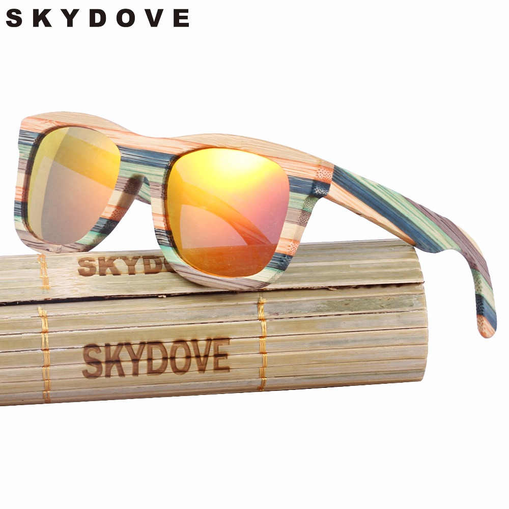 SKYDOVE Wooden Sunglasses Women Mirror Goggle Square Multi Sunglasses Bamboo Vintage Polarized Bamboo Sunglasses For Man