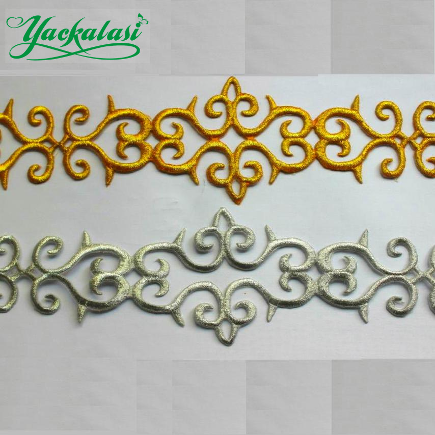 Gold Gosplay Costume Braid Embroidered Lace Applique Iron ...