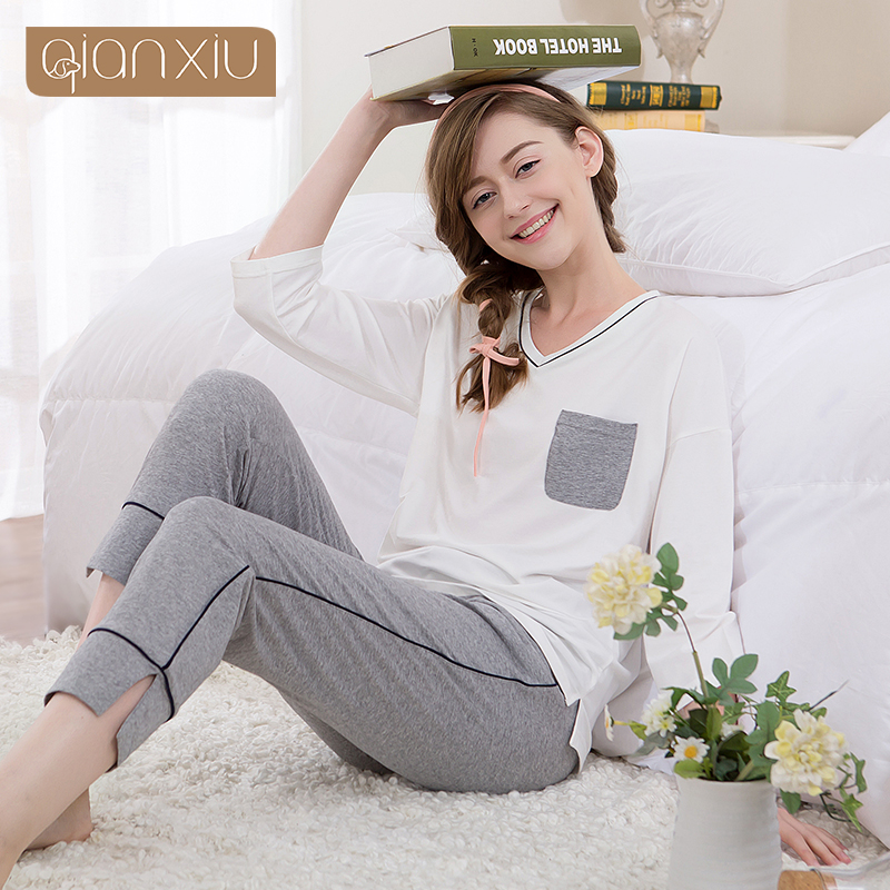 Qianxiu Spring 95 Cotton Is The Most Popular Sleeve Pajamas Household Comfortable Pocket Decoration For Women