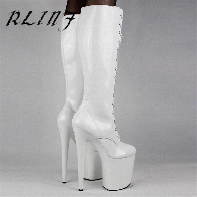 RLINF очень высокий каблук 20 см верхнего пикантная обувь на платформе спереди ремень сцены из искусственной кожи Высокие сапоги-трубы сапоги всадника - Цвет: Белый
