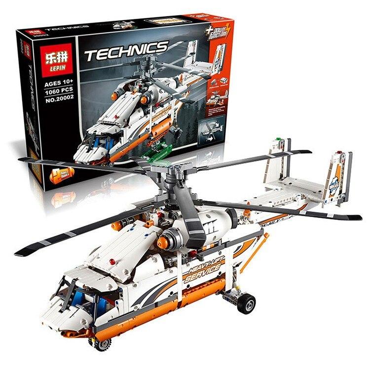 ФОТО 1060 PCS LEPIN 20002 Technic Heavy Lift Helicopter Building Blocks Bricks For Children Gift Kids Toys
