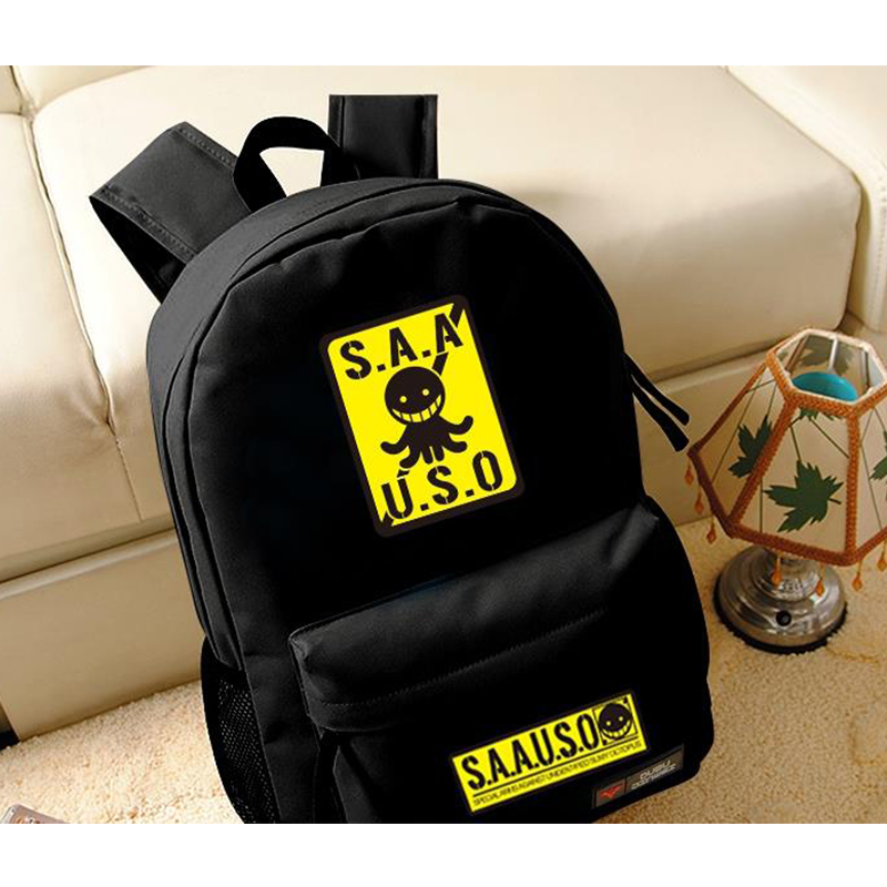Fashion Assassination Classroom Black Backpack Cartoon Shoulders Bag Casual Unisex Travel Bags Knapsack anime assassination classroom cosplay fashion casual men and women travel bags birthday gift