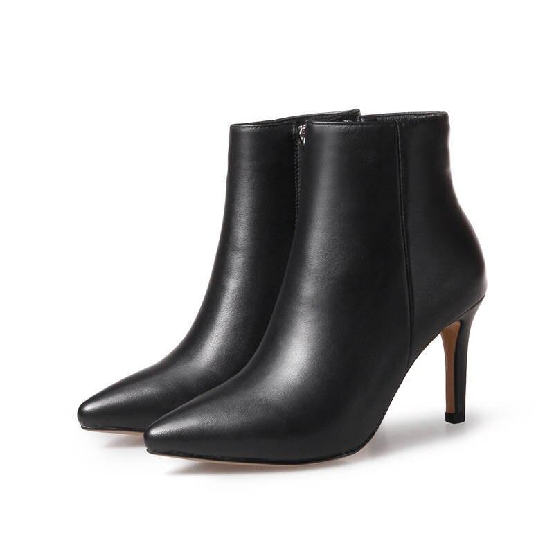 MORAZORA 2020 nouvelle arrivée bout pointu court en peluche automne hiver dames bottes zipper bottines pour femmes talons hauts chaussures femme-in Bottines from Chaussures    2