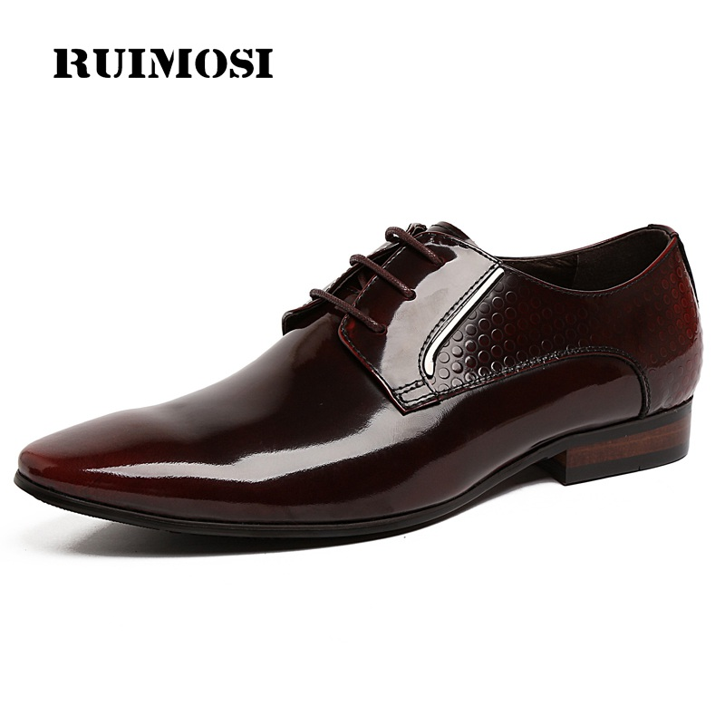 RUIMOSI Italian Designer Man Formal Party Shoes Genuine Leather Wedding Oxfords Pointed Toe Business Men's Bridal Flats UH48