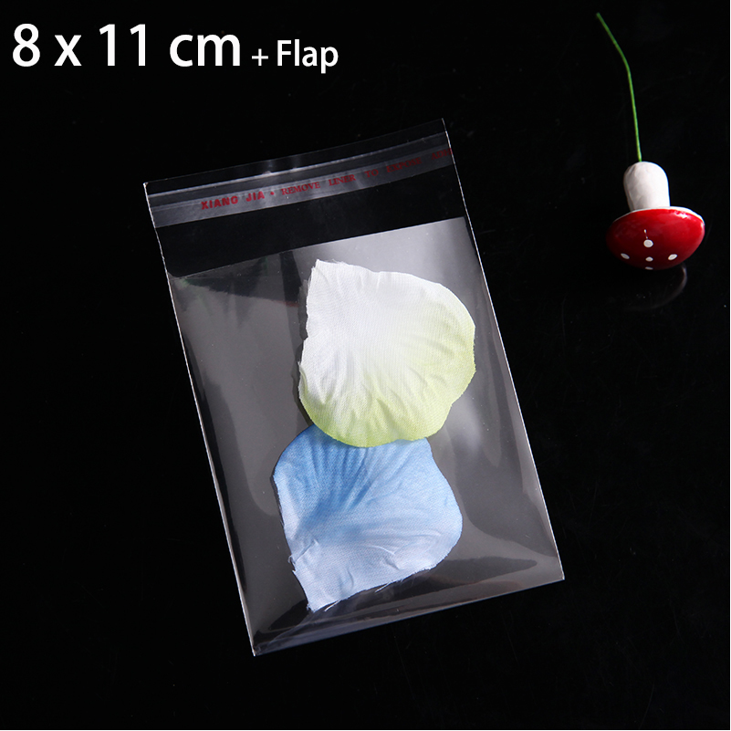 2000pcs 8 X 11cm CLEAR PLASTIC BAGS SMALL GIFT BAG SELF ADHESIVE SEAL PACKAGING POUCHES For Necklace Jewelry Packing