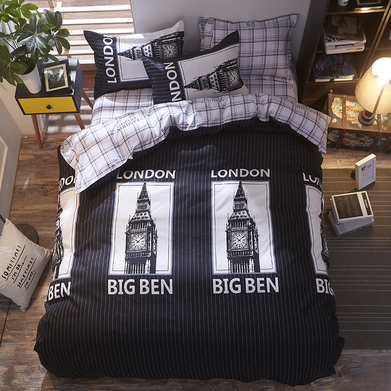 Steady 3d Bedding Sets Big Ben London Bedding Sets 3/4pcs Bed Linen Geometric Chequer Sheet Duvet Cover Pillowcase King Twin Size Demand Exceeding Supply Bedding Sets