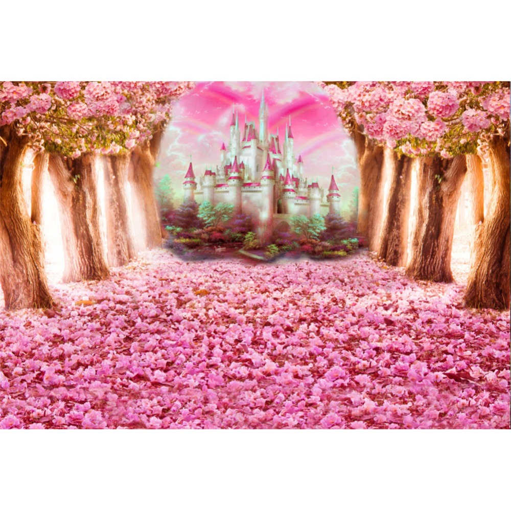 Laeacco Pohádka Lesní strom Květiny Hrad Rainbow Fotografie - Videokamery a fotoaparáty - Fotografie 1