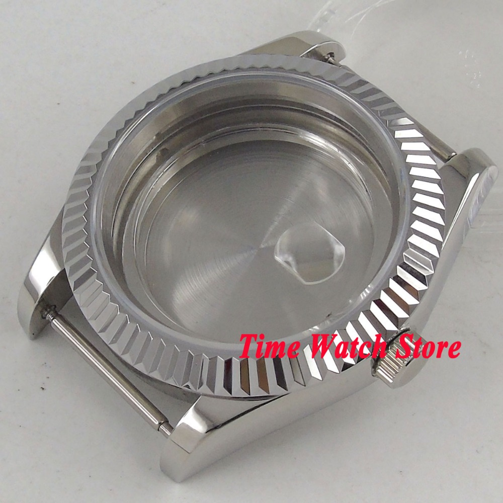 40mm PARNIS sapphire glass date magnifier 316L stainless steel Watch Case fit ETA 2836 miyota 8215 movement C25 цена и фото