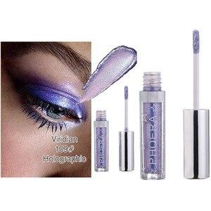 Image 4 - PHOERA sombra de ojos de 12 colores, maquillaje, sombra de ojos líquida con brillo y brillo metálico, 2018