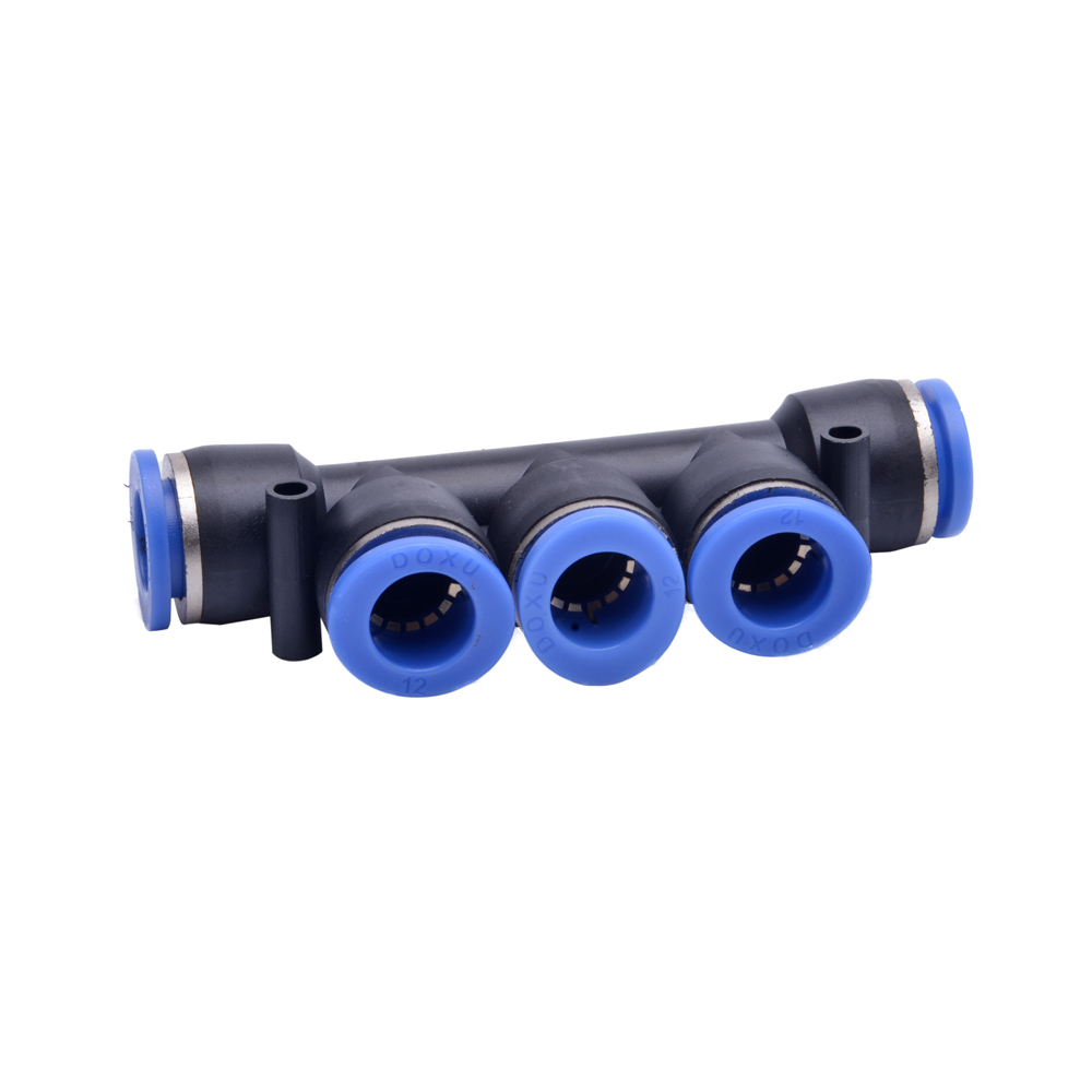 2Pcs Air Pneumatic 5 Way One Touch 4mm 6mm 8mm 10mm 12mm OD Tube Push In Pipe Quick Fittings Connector Coupler 9 pcs 3 8 pt male thread 8mm push in joint pneumatic connector quick fittings