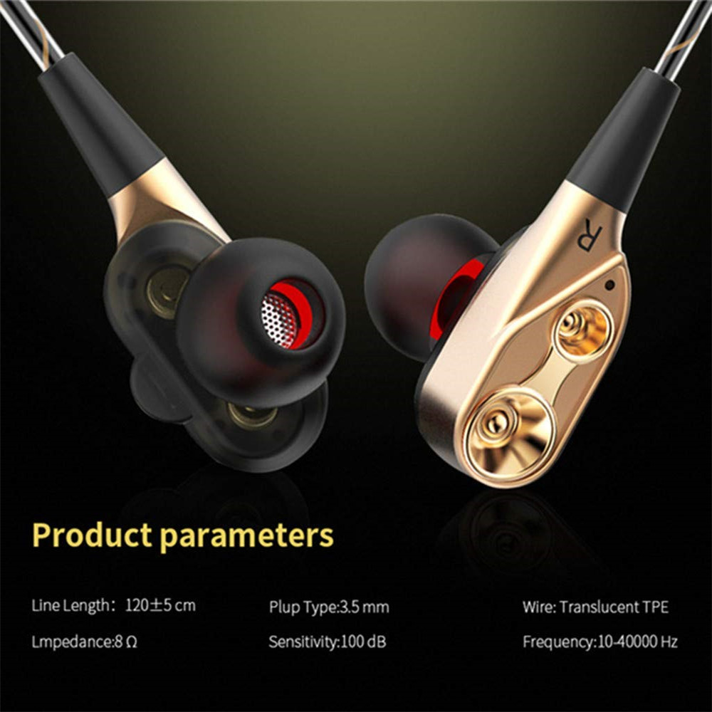 Dual Drive Wired In ear earphones Stereo in ear headset hi fi headphones wire Bass with mic 3 5MM for phone xiaomi huawei in Phone Earphones Headphones from Consumer Electronics