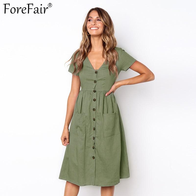 ForeFair Front Button Pocket Linen Dress Short Sleeve V-neck A-line Summer Dress Plus Size