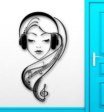 Wall Stickers Vinyl Decal Headphones Beautiful Sexy Girl Music Melody
