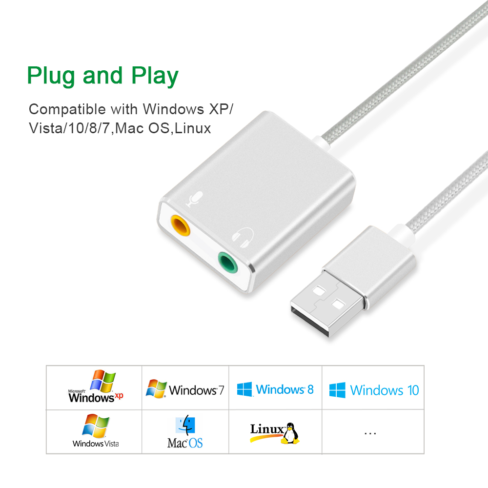 External USB Sound Card Adapter USB to Jack 3.5mm Audio Card Earphone Micphone Interface Sound Card for Computer Peripheral