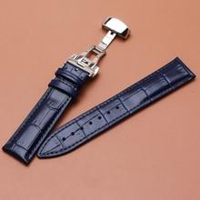 18 мм 19 мм 20 мм 21 мм 22 мм темно-синие кожаные ремешки для часов с серебром для часов с пряжкой-бабочкой ремешок модные аксессуары для часов