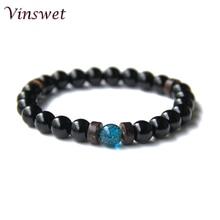 Men Bracelet Natural lava Wood Onyx Tiger Crystal Bead Tibetan Buddha Yoga Mala Homme Jewelry Gift For