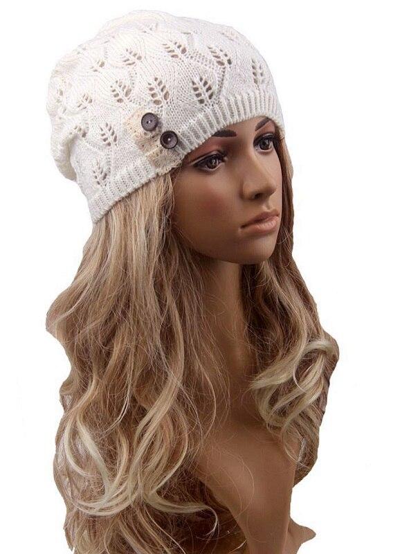 Donna Primavera Cappello New Knit Baggy Beanie Cappelli Invernali Cappelli  Caldi cappello Femminile Ragazza Elegante Button Solid Bones Touca Gorros  Cofano