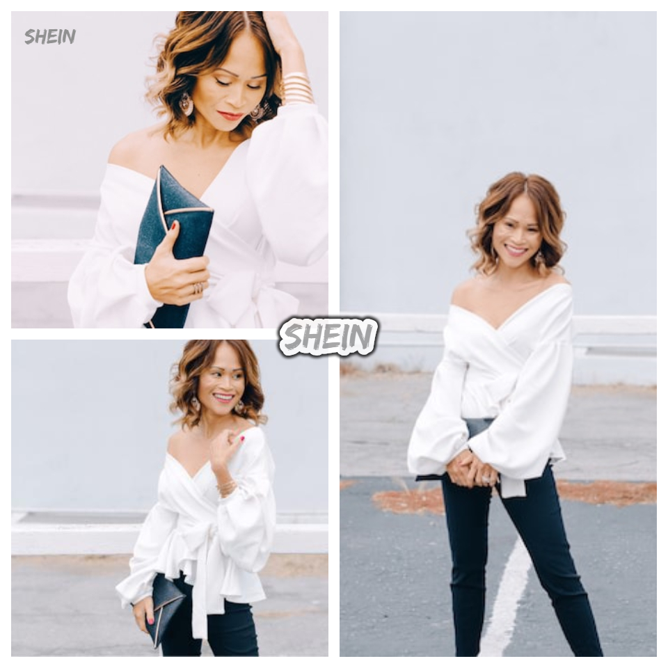 SHEIN White Office Lady Elegant Lantern Sleeve Surplice Peplum Off the Shoulder Solid Blouse Autumn Sexy Women Tops And Blouses 9