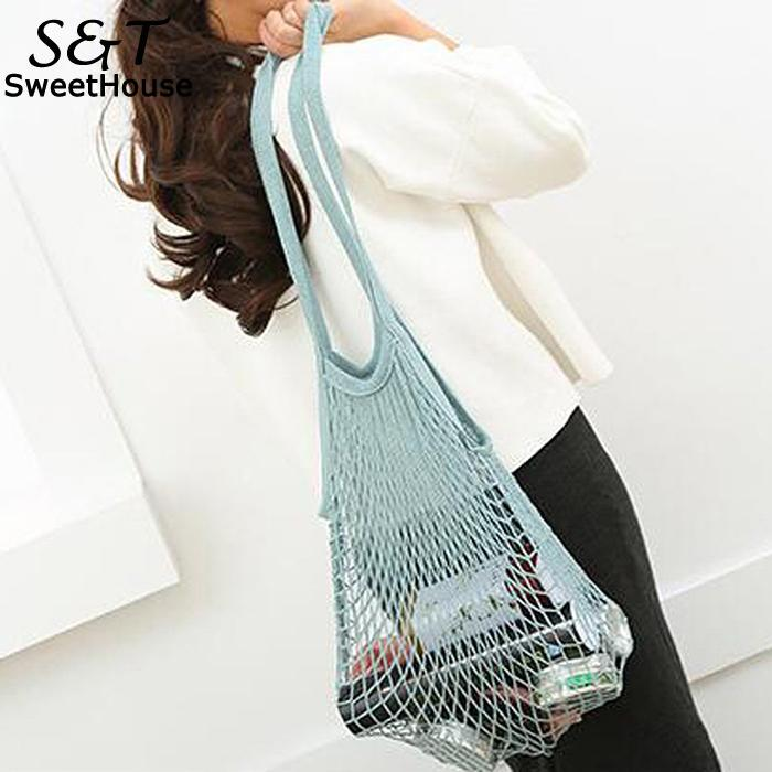 New Fashion Bags Reusable Grocery Bags Net String Shopping Mesh BagsF For Women Shopping, Outdoor Short Handles Foldable Tote