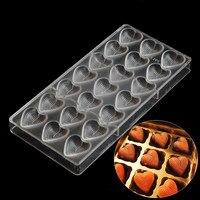 Bakken gebak gereedschap hartvormige polycarbonaat chocolade schimmel, goedkope keuken bakvormen bakvorm chocolade mallen plastic