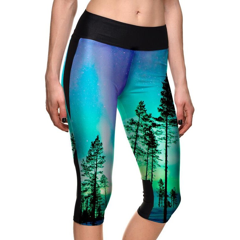 YGYEEG 2020 Women Pants High Quality Capris High Waisted Floral Printing Pants Lady's Fitness Workout Movement Seventh Leggings