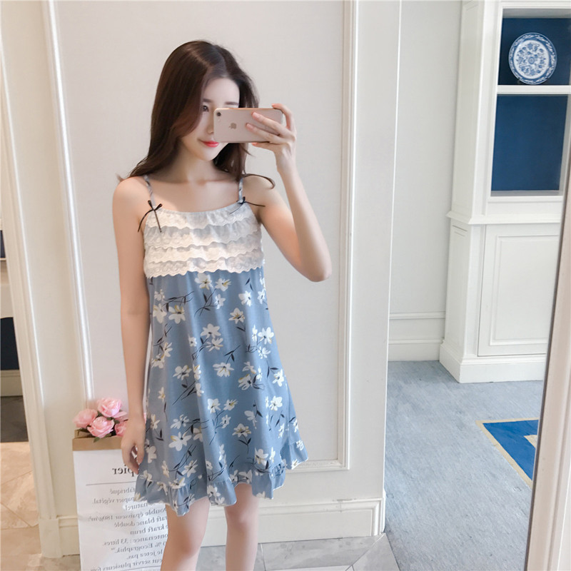 2019 Summer Women Nightgowns Sleepshirts Nightshirts Cotton Sleepwear Cute Spaghetti Strap Nightdress Flower Print Nightwear