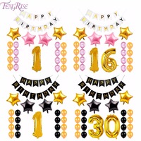FENGRISE Happy Birthday Banner 40inch Foil Balloon Paper Bunting Gold Black Latex Ballons Birthday Party Decoration