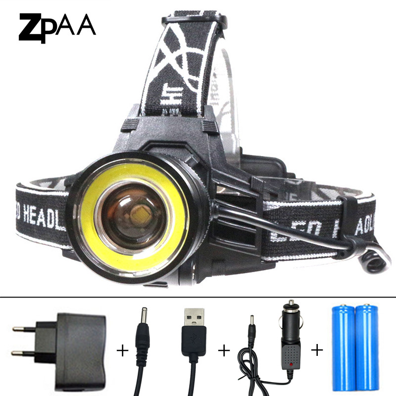 ZPAA 10000 Lumens LED Headlamp 4 Modes Zoomable LED Headlight Head Torch XM-L T6+COB LED Fishing Hunting Head Lights Lantern high power 5 cree led headlamp xm l t6 q5 headlight 15000 lumens head lamp camp hike frontale flashlight fishing hunting lights