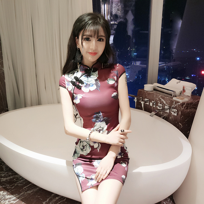2020 Sexy Flower Print Bride Wedding Dress Women Satin Qipao Chinese Party Dress Sexy Cheongsam Oryantal Modern