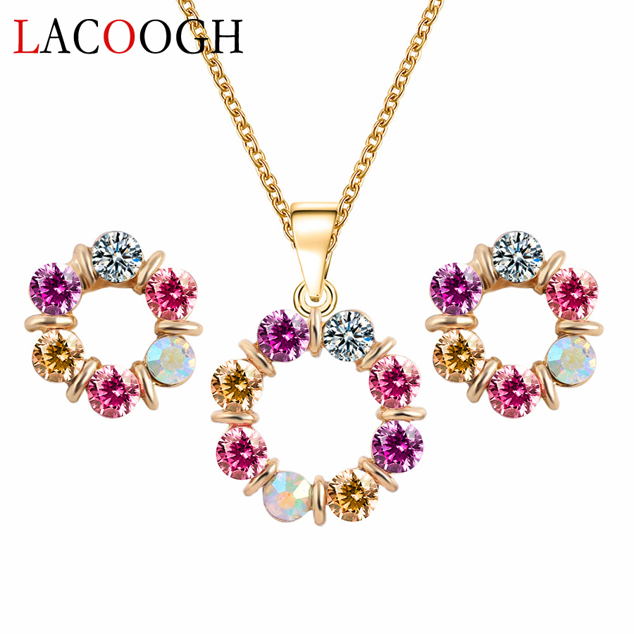 Lacoogh New Trendy Retro Jewelry Sets for Women Alloy Crystal Costume jewelery sets Fashion Party Jewelry Necklace&Earrings