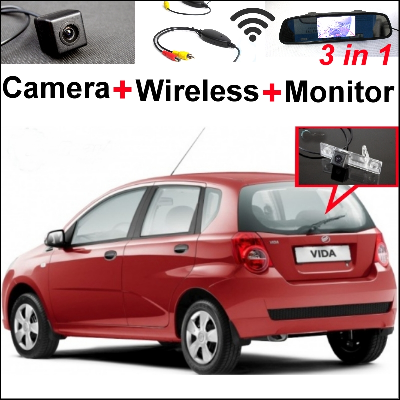 3 in1 Special WiFi Camera + Wireless Receiver + Mirror Monitor Easy DIY Backup Parking System For ZAZ Vida 2002~2010 wireless pager system 433 92mhz wireless restaurant table buzzer with monitor and watch receiver 3 display 42 call button