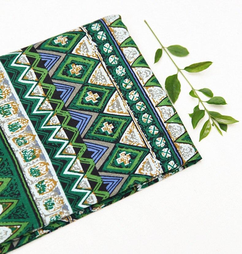 50x145cm měkké plátno bavlněné tkaniny etnické zelené květinové potištěné vzory tkaniny měřidlo pro šití ubrusů látkové plátno tkaniny