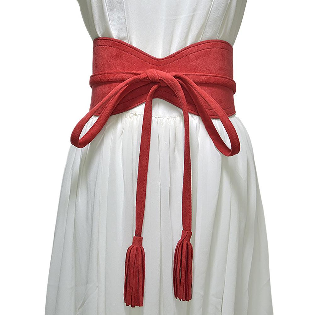 Fashion Women Solid Color Faux Leather Tassel Bow Tie Wide Belt Corset Waistband New