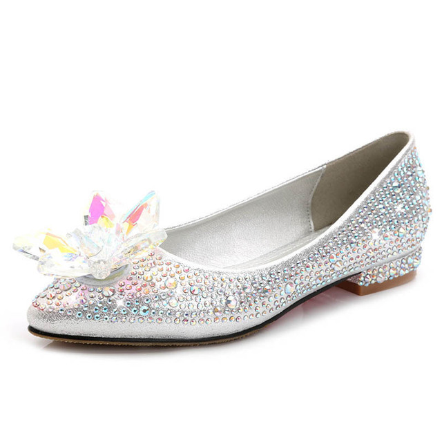 e6daa4ba6352 2018 New Rhinestone Crystle Cinderella Shoes Sexy Flat heel Women Shoes  Wedding Shoes Flats Zapatos Mujer big size 34-43