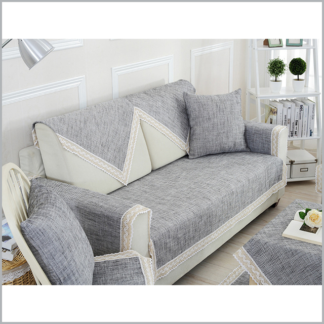 Cotton/Linen Sofa Cover Modern Solid Sofa Covers Modern Gray capa de ...