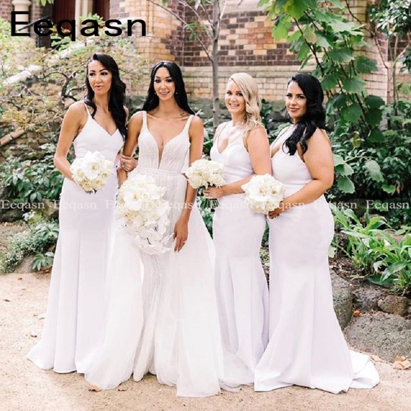 Mermaid Bridesmaid Dresses Long for Wedding Party 2020 V-Neck Robe Demoiselle D'honneur White Backless Wedding Guest Dress