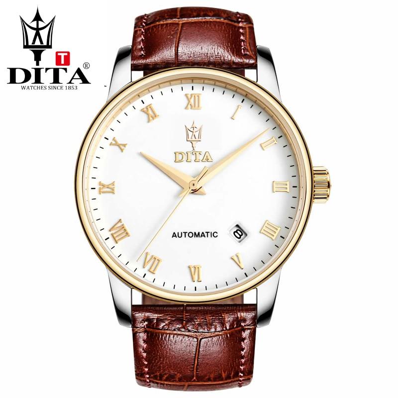 цена на DITA mens watches luxury automatic mechanical watch sport 2tone black brown leather strap belt watch Skeleton caseback