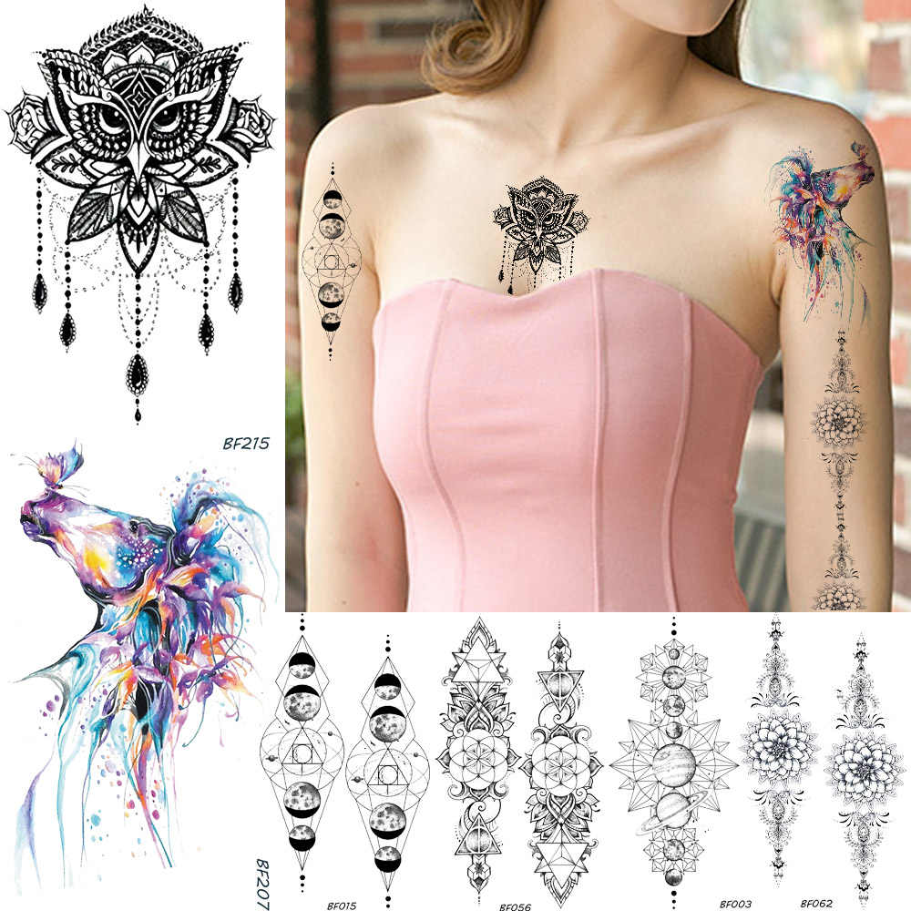 64e468db1 Baofuli Henna Owl Pendants Waterproof Temporary Tattoo Watercolor Blue  Unicorn Sticker Black Tattoos Geometric Planet Sexy