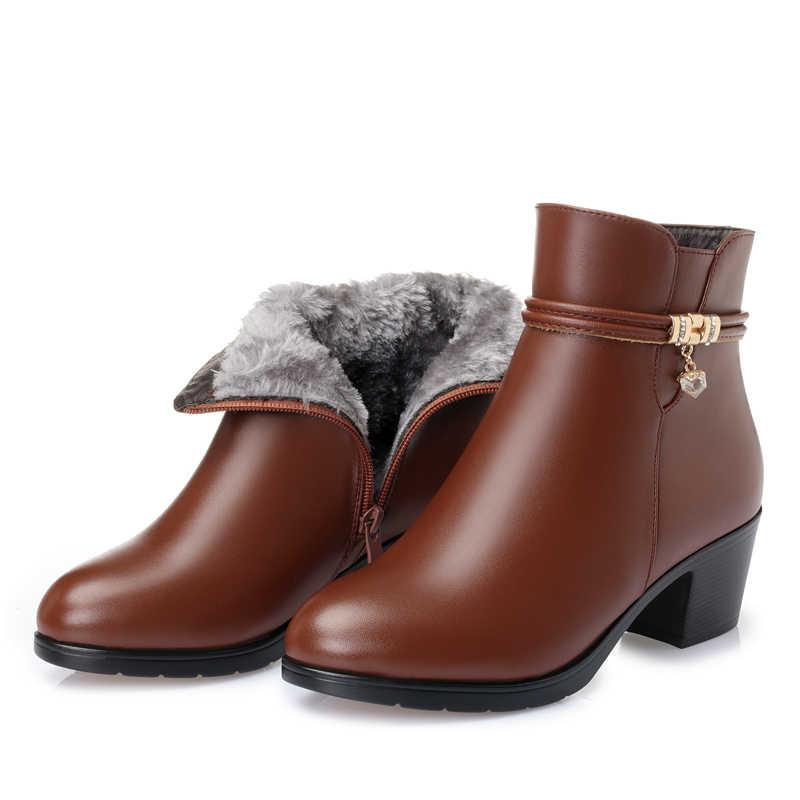 Gktinoo 2020 Nieuwe Mode Zachte Lederen Vrouwen Enkellaars Hoge Hakken Rits Schoenen Warm Bont Winter Laarzen Voor Vrouwen Plus maat 35-43