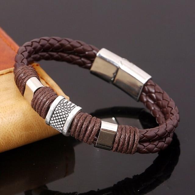 Handmade Simple Punk Vintage Women Alloy Genuine Leather Charming Bracelets & Cuff Bangels Homme Men Bijoux Jewelry Accessories 5