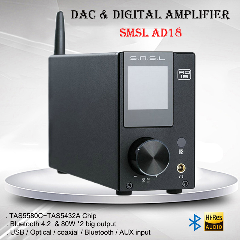 SMSL AD18 Multifunction Digital Amplifier Audio Bluetooth 4.2 USB DAC Power Amp Portable HIFI Amplificador Optical Input Decoder