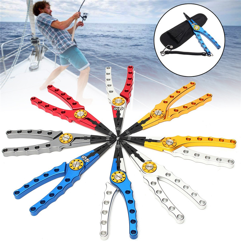 7 Colors Aluminum Alloy Fishing Pliers Split Ring Cutters Fishing Holder Tackle Nipper With Pouch