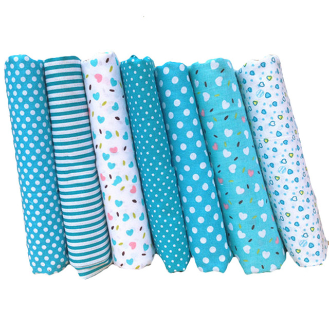 Funique 7pcs New Blue Cotton Fabric Handmade Sewing Material Fabrics