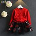 2016 Autumn Winter Infant Girls Dress Long Sleeve Knitted Sweater Dress Children Pullovers Sweaters with Mesh Kids Clothes A008