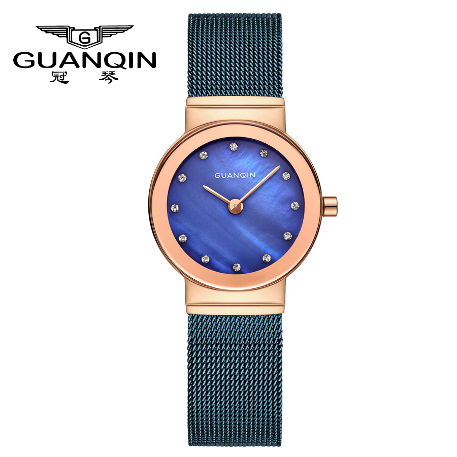 GUANQIN Watches Women Luxury Brand Quartz Casual Watches for Woman Stainless Steel strap Girl watches Lady's Dress Wristwatch